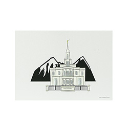 Payson Temple Print - 5x7 payson temple print, payson temple sketch, utah temple sketch, utah temple color sketch