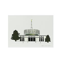 Provo Temple Print - 5x7 provo temple print, provo temple sketch, utah temple sketch, utah temple color sketch
