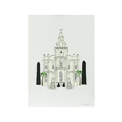 St. George Temple Print - 5x7 st. george temple print, st. george temple sketch, utah temple sketch, utah temple color sketch