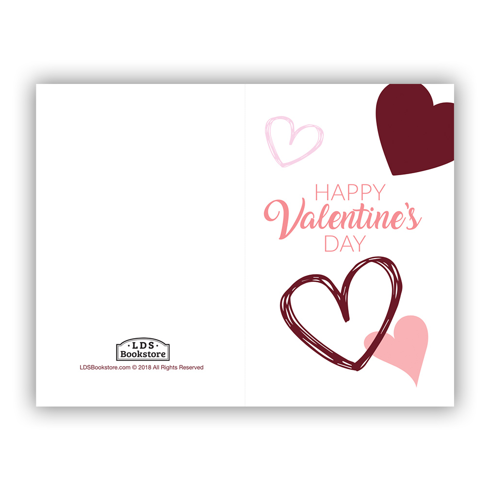 image about Happy Valentines Day Printable named Scattered Hearts Valentines Working day Card - Printable in just Free of charge