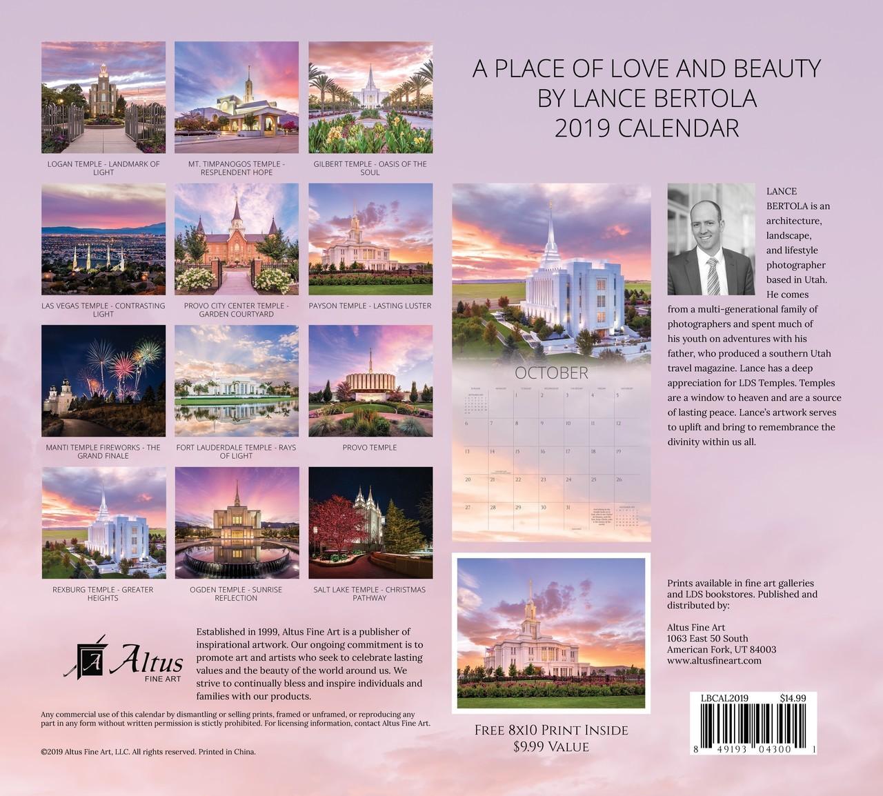 2019 A Place of Love and Beauty Calendar - Lance Bertola - AFA-LBCAL2019