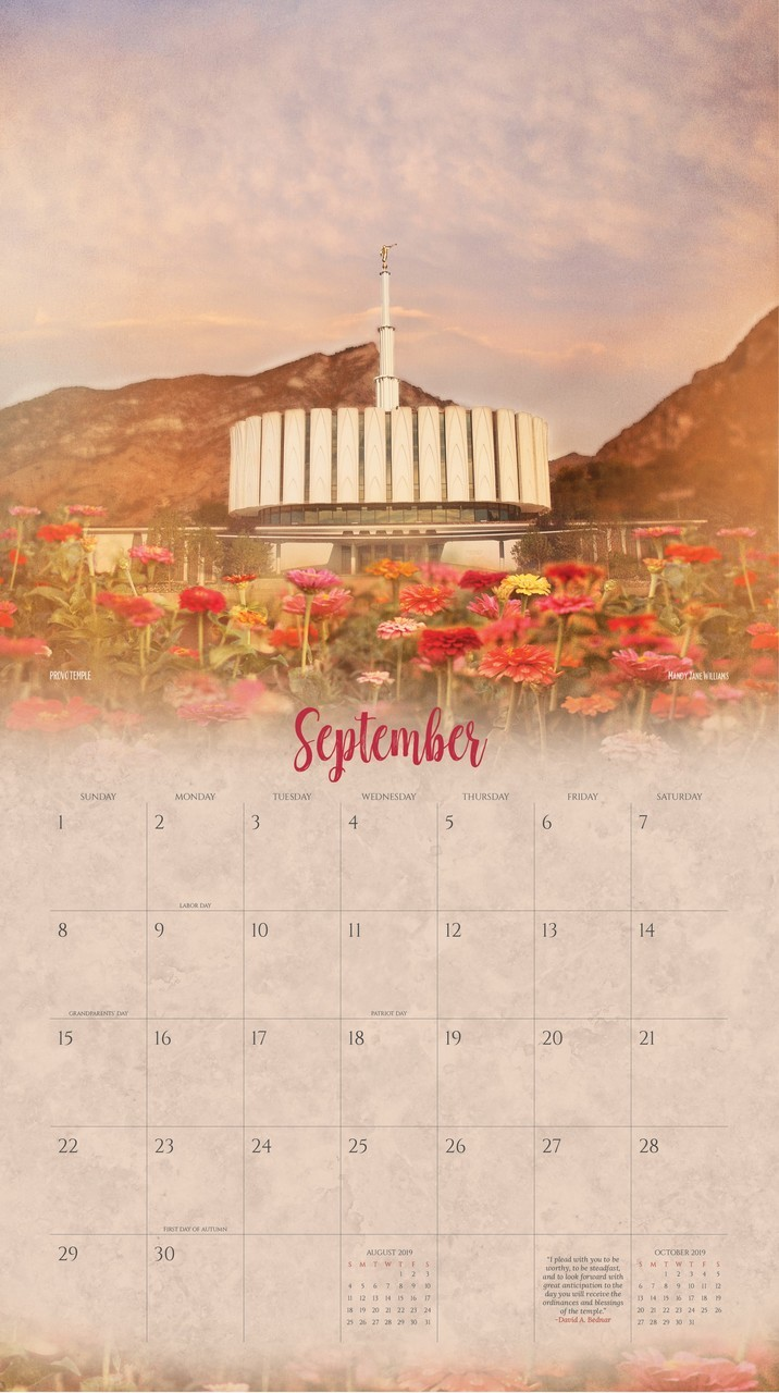 2019 I Love to See the Temple Calendar - Mandy Jane Williams - AFA-MJCAL2019