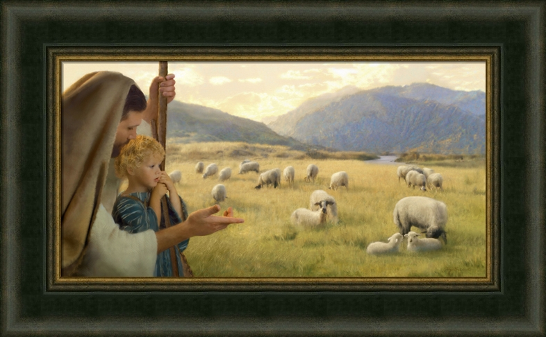 Feed My Sheep Framed In Jesus With Children