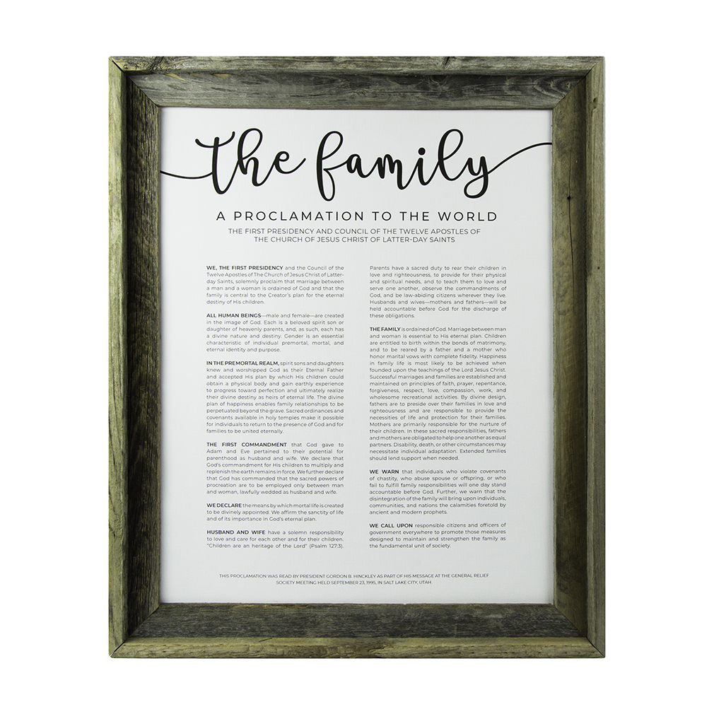 Framed Family Proclamation - Rustic - LDP-FR-ART-FAMPROC-RUSTIC
