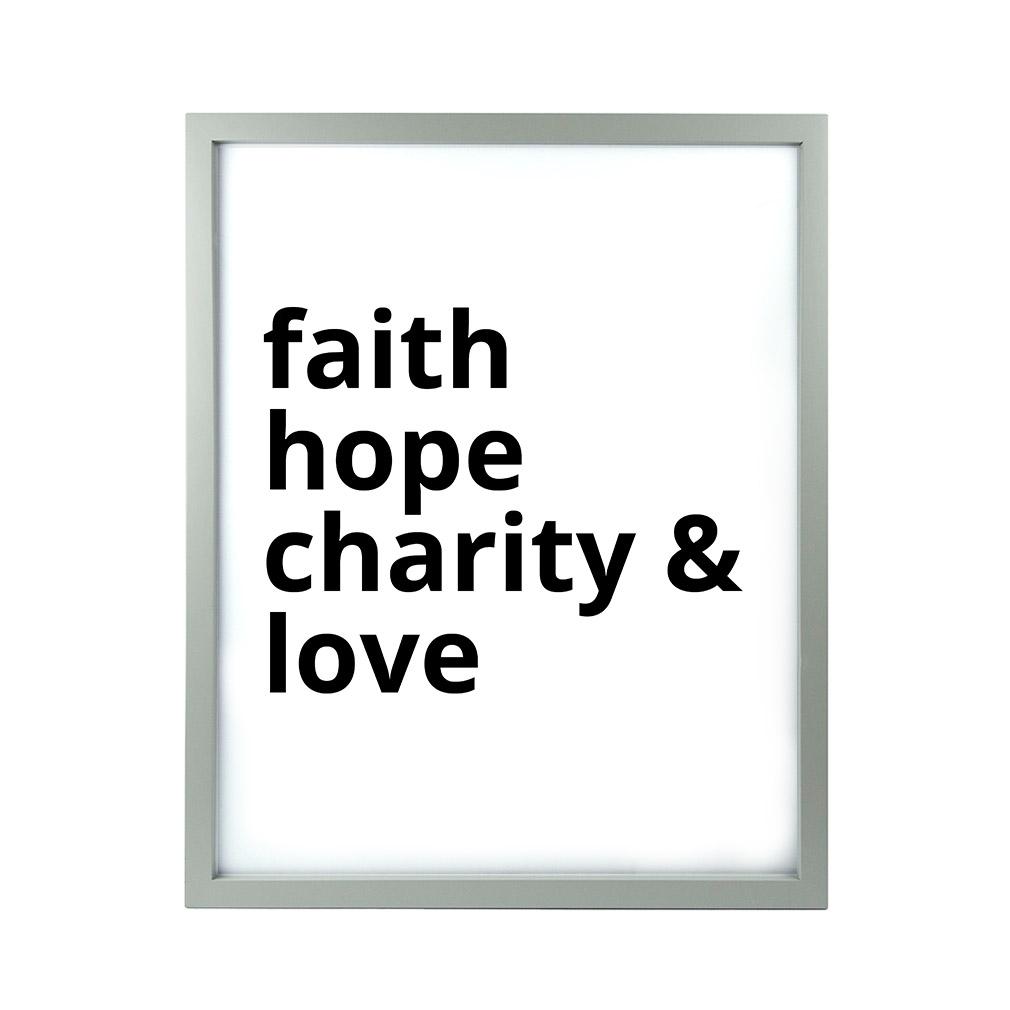 Faith Hope Charity & Love LDS Quote Wall Art - Modern - LDP-ART-QUOTE-FHCL