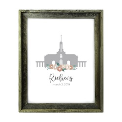 Personalized Flower Temple Print - Barnwood