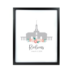 Personalized Flower Temple Print - Black lds poster, lds temple poster, lds temple vector poster