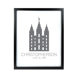 Personalized Outline Temple Print - Black framed lds temple art, lds temple vector, lds temple art, framed temple art, framed temples