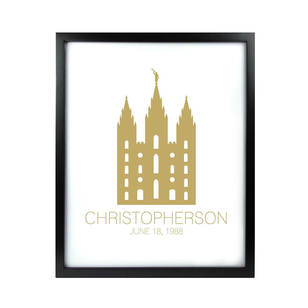 Personalized Outline Temple Print - Black - LDP-CTEMPPOSTOUTLINE-BLK