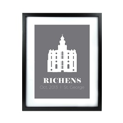 Personalized Filled Temple Print - Black lds poster, lds temple poster, lds temple vector poster