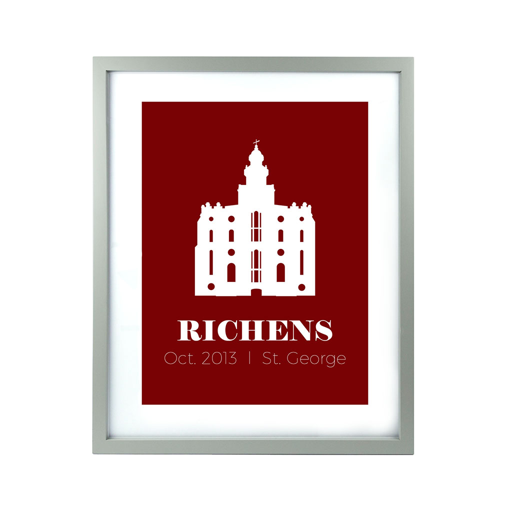 Personalized Filled Temple Print - Modern - LDP-CTEMPPOSTSQ