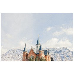 Provo City Center Temple - Snowy Mountain framed provo city center temple, provo city center temple art, provo city center temple framed art, Framed Provo City Center Temple Art