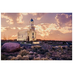 Cedar City Temple - Violet Sunset Framed Cedar City Temple Art, Cedar City Temple Photography, lds temple photography, fine art lds temples, lds temple art, framed lds temples