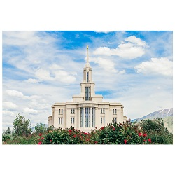 Payson Temple - Red Blossoms Paysom Temple Photography, lds temple photography, fine art lds temples, lds temple art, framed lds temples, payson Temple photos, payson Temple photography, framed payson temple art
