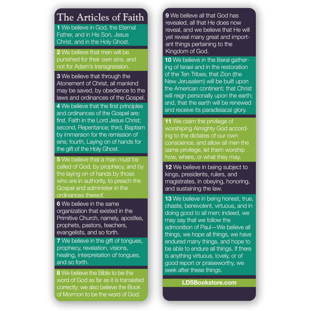 Articles of Faith Bookmark - LDP-ARTFAITH