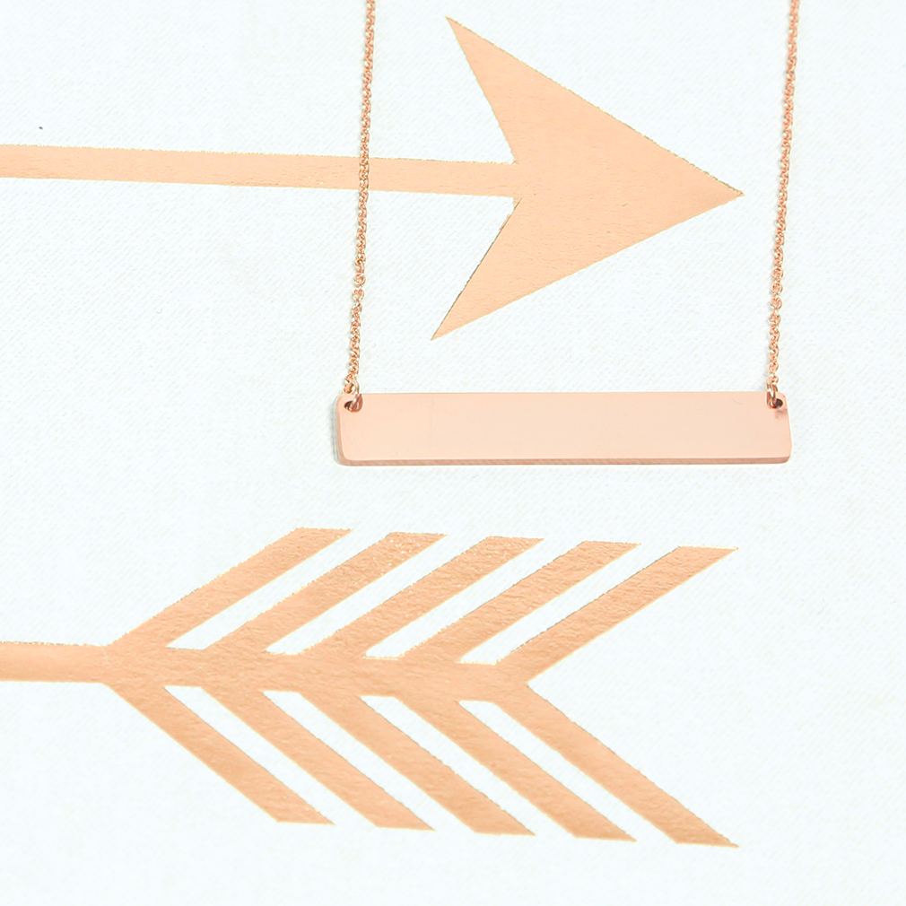 Customizable Horizontal Bar Necklace - LDP-HBN1039-GLD