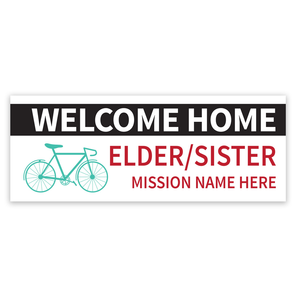Bike Missionary Banner lds missionary banner, bike missionary banner, bike missionary poster, homecoming bike mission poster, bicycle mission banner