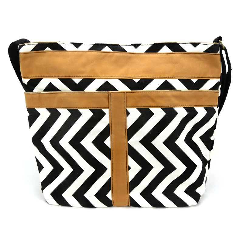 Black and Brown Chevron Tote