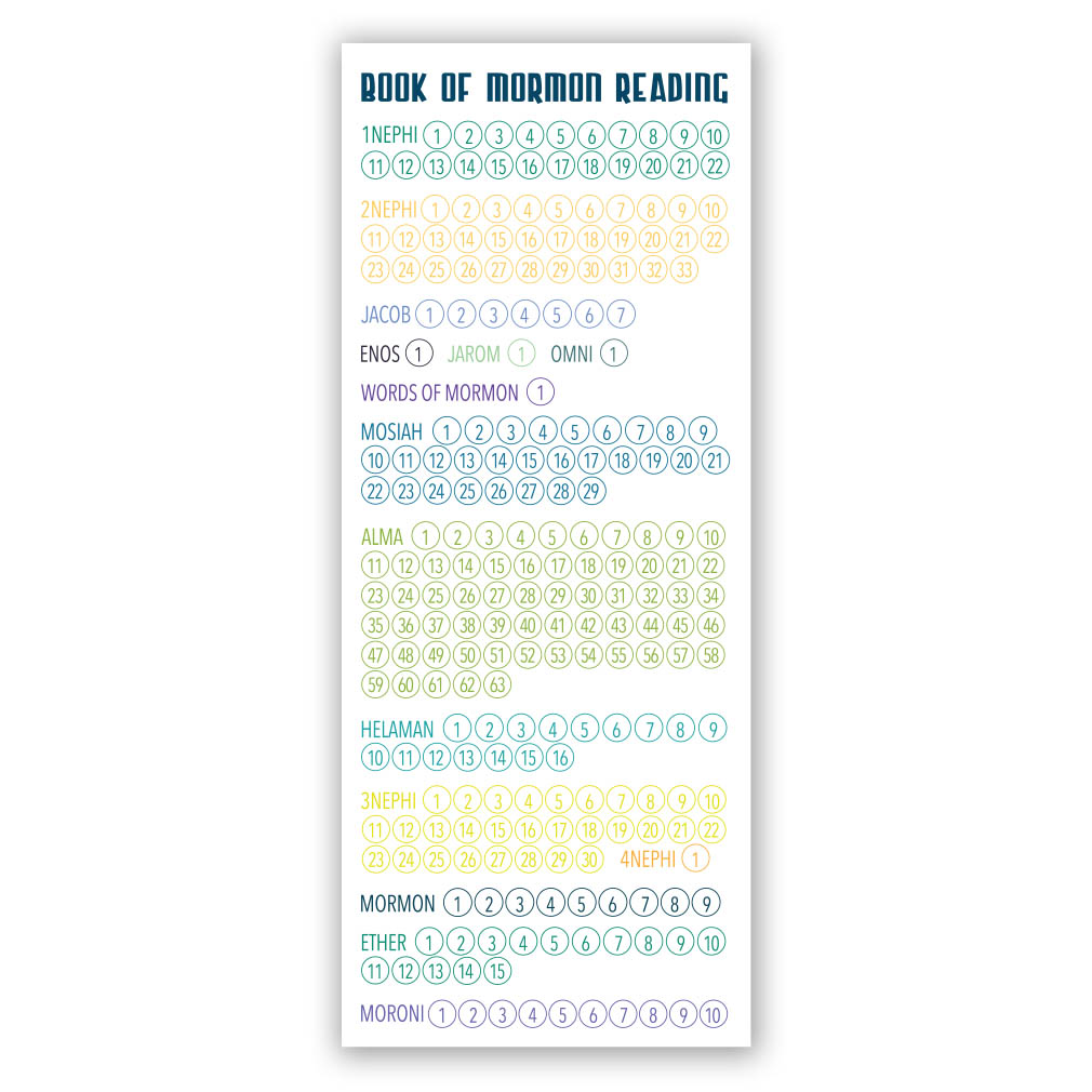 Book of mormon reading chart bookmark large printable in latter