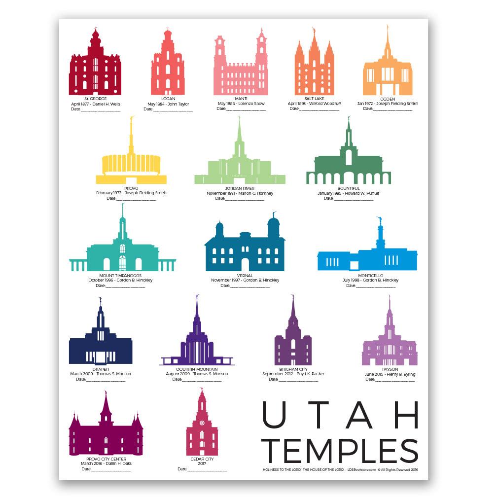 Utah Temples Tracker Poster - 5 Designs - LDP-TPSTUT-TRACK
