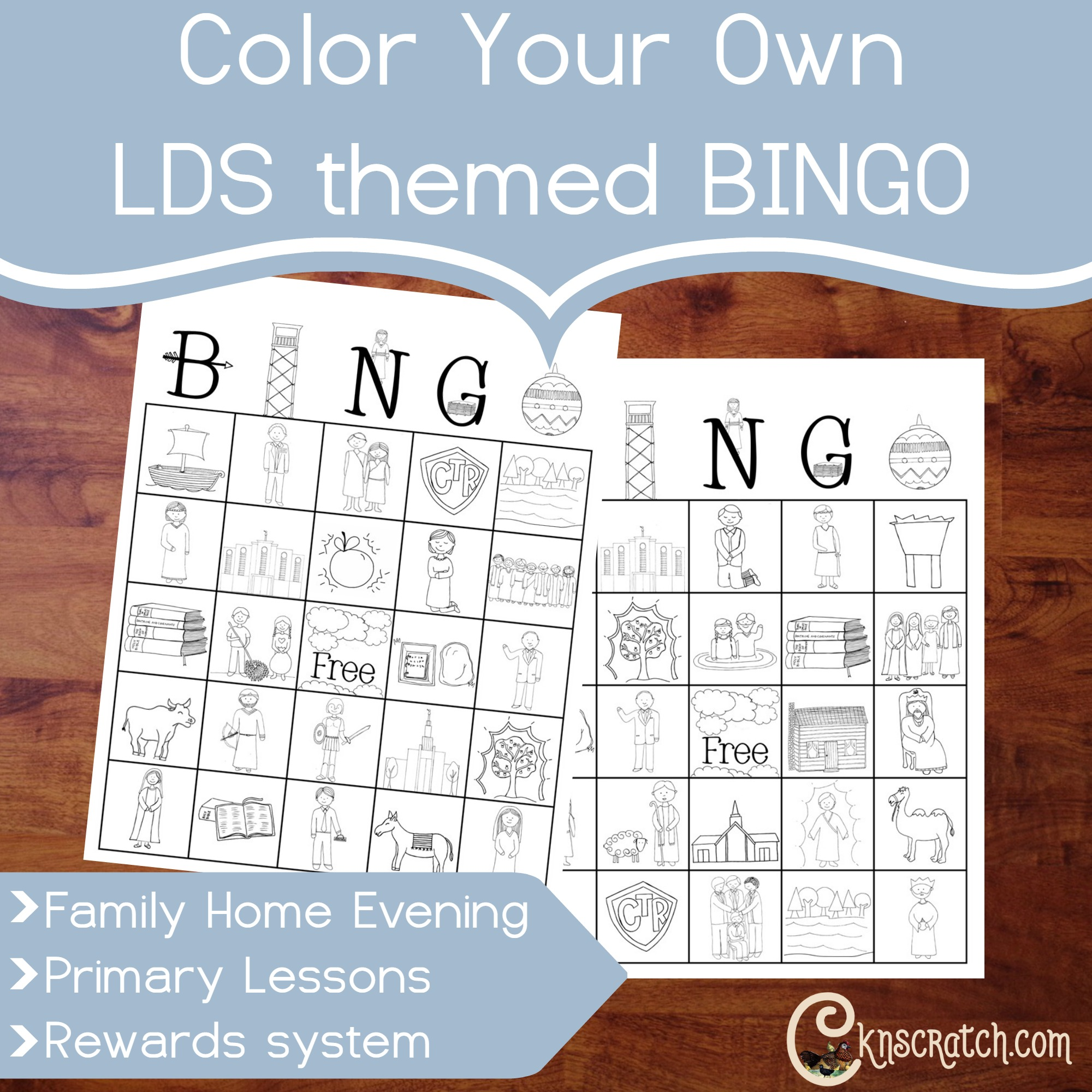 Color Your Own LDS Themed Bingo