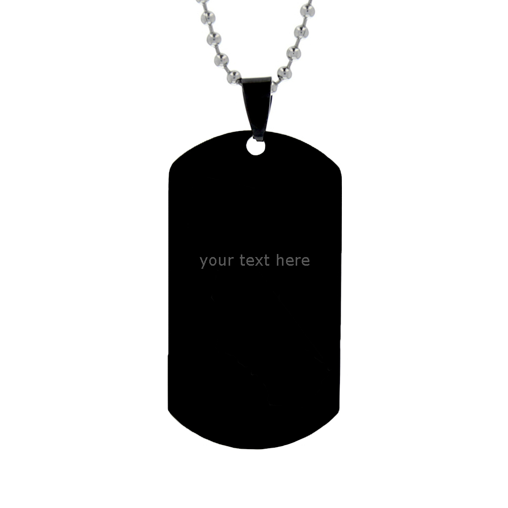 Customizable Dog Tag Necklace - Black - LDP-DTG156039