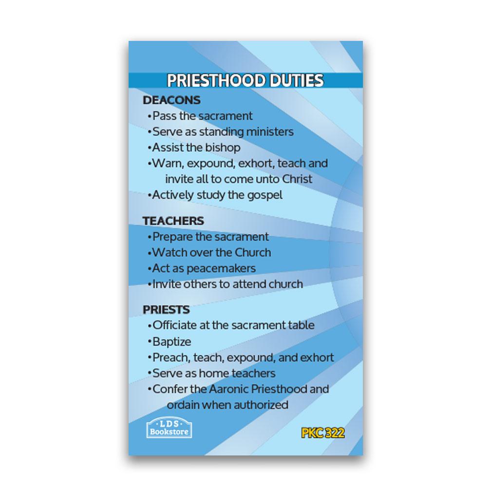 Purposes of the Aaronic Priesthood Pocket Card - LDP-PKC322