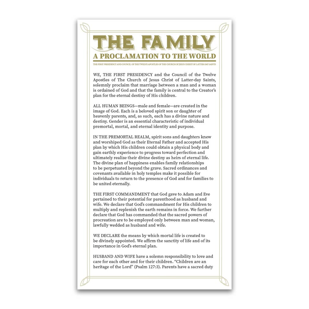 Family Proclamation Bookmark