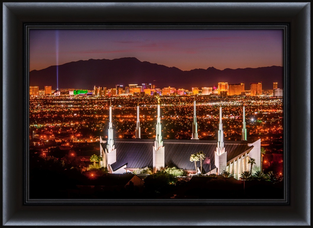 Las Vegas Temple Night From The Hill - Framed in Temple ...