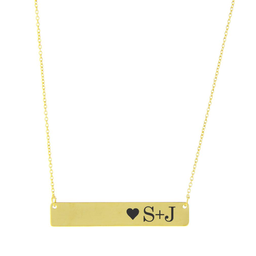 Initial Heart Horizontal Bar Necklace - LDP-IHHBN400