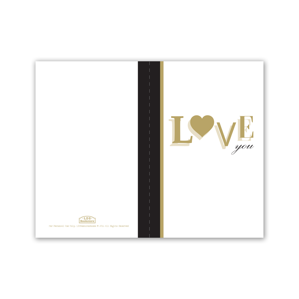 graphic about Printable I Love You Cards identified as Gold Take pleasure in On your own Valentines Working day Card - Printable within just Free of charge LDS