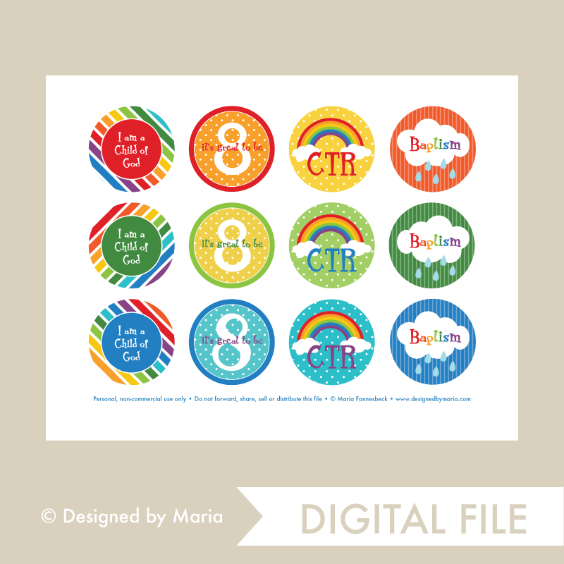 Great to be 8 Rainbow Cupcake Toppers - Printable - DBMD-8RAINBOWTOPPERS