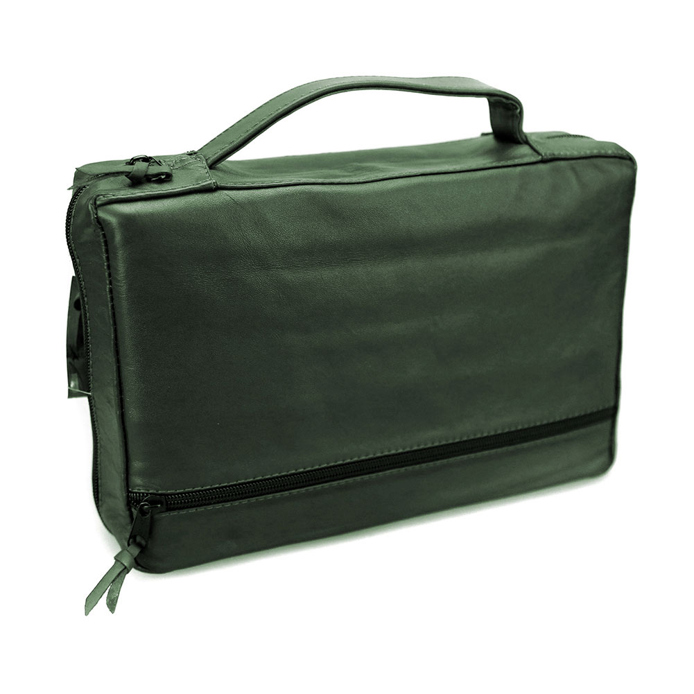 Green Leather Triple and Bible Tote with Side and Center Flaps - Large