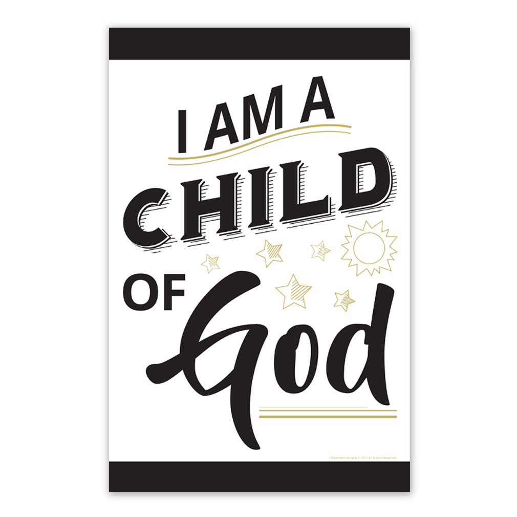 graphic relating to Printable Posters identified as I Am a Youngster of God Poster - Gold Black Printable