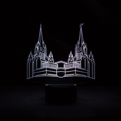 San Diego Temple LED Night Light san diego temple illuminated desk light, san diego temple, san diego california temple, lds night light, lds desk light, lds gifts