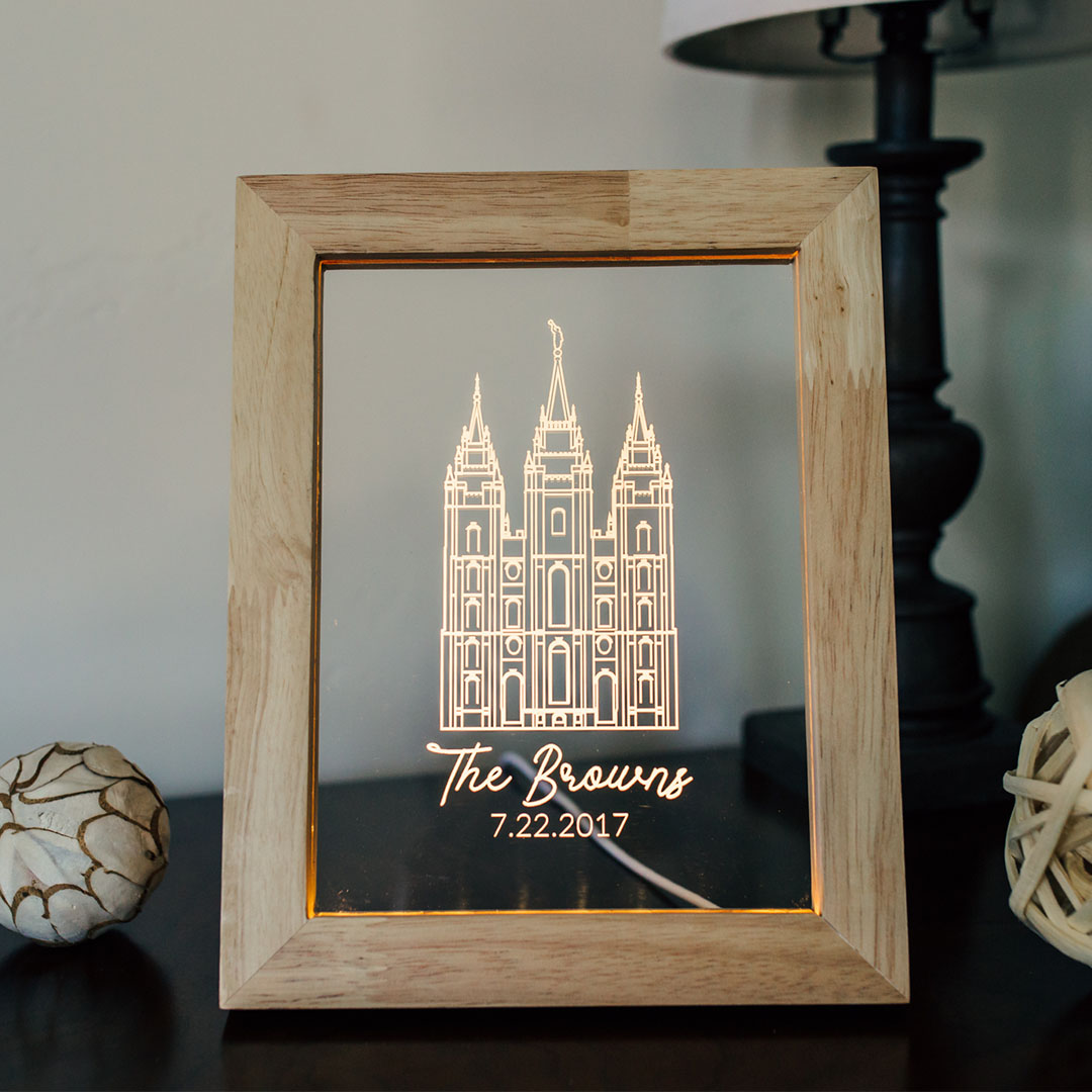 Portland Temple Illuminated Picture Frame - LDP-IPF-PORT-NB