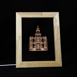 St. George Temple LED Frame Night Light desk light, illuminated desk light, frame light, picture frame light, st george temple, lds temple art, lds gifts