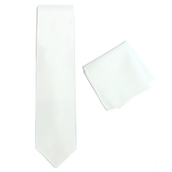White Necktie and Pocket Square Set