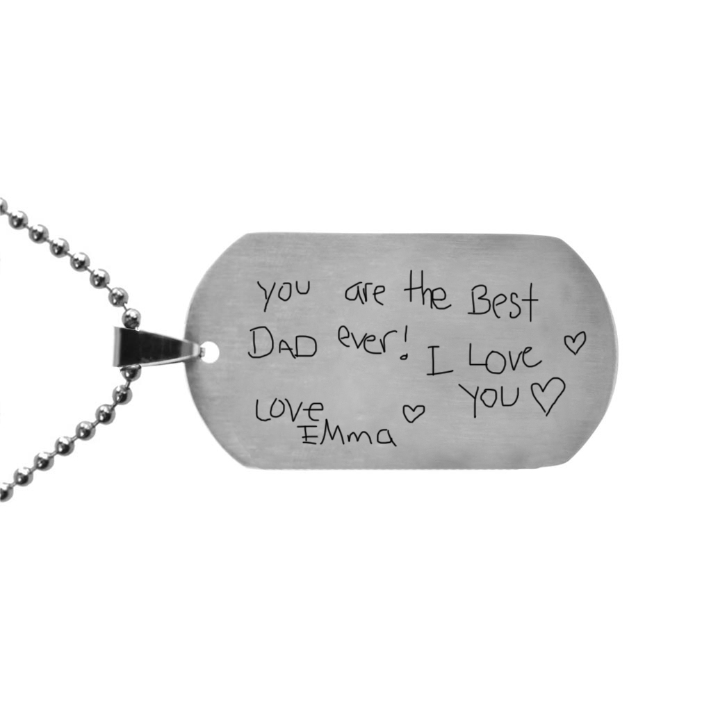 Personalized Handwriting Dog Tag Keychain/Necklace - LDP-DTG105