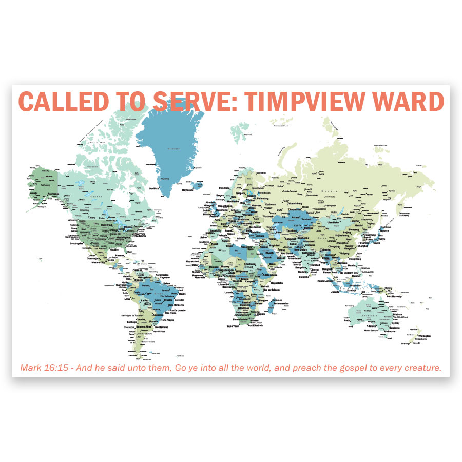 Lds Mission Maps Personalized LDS World Mission Map Poster in Mission Map Posters