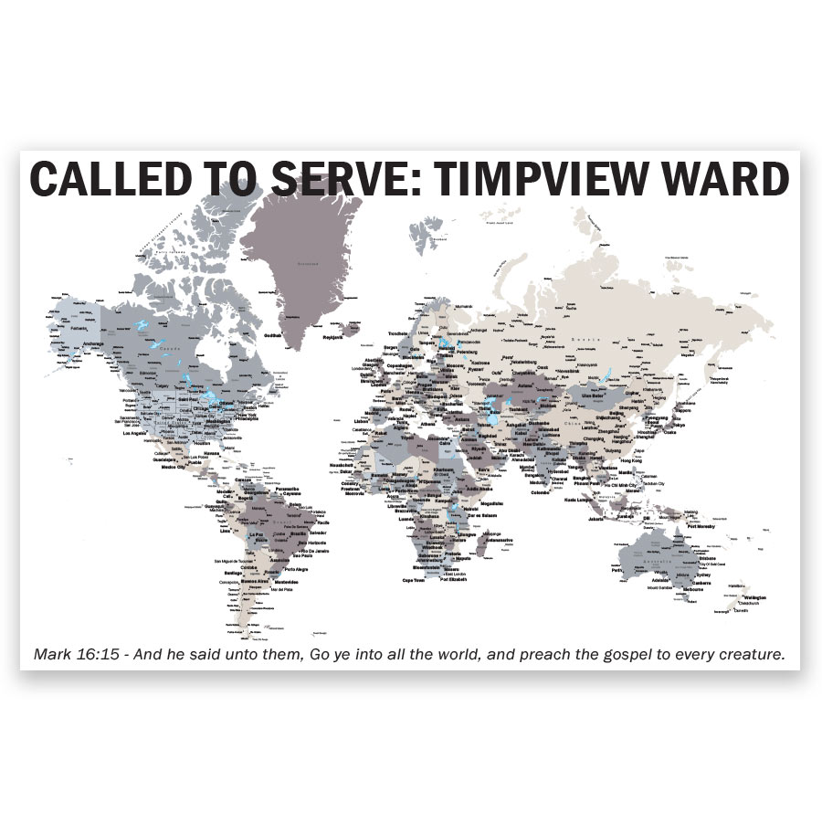 photo relating to Future Missionary Tag Printable referred to as Tailored LDS World wide Mission Map Poster inside of Mission Map