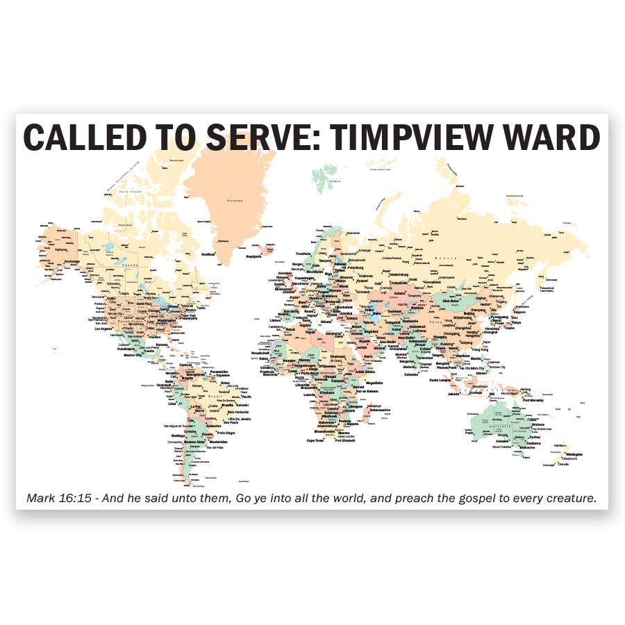 Personalized LDS World Mission Map Poster - LDP-PST133