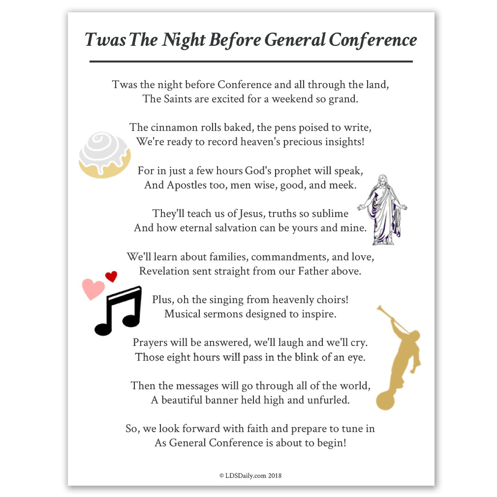 Twas The Night Before General Conference Printable In Latter Day