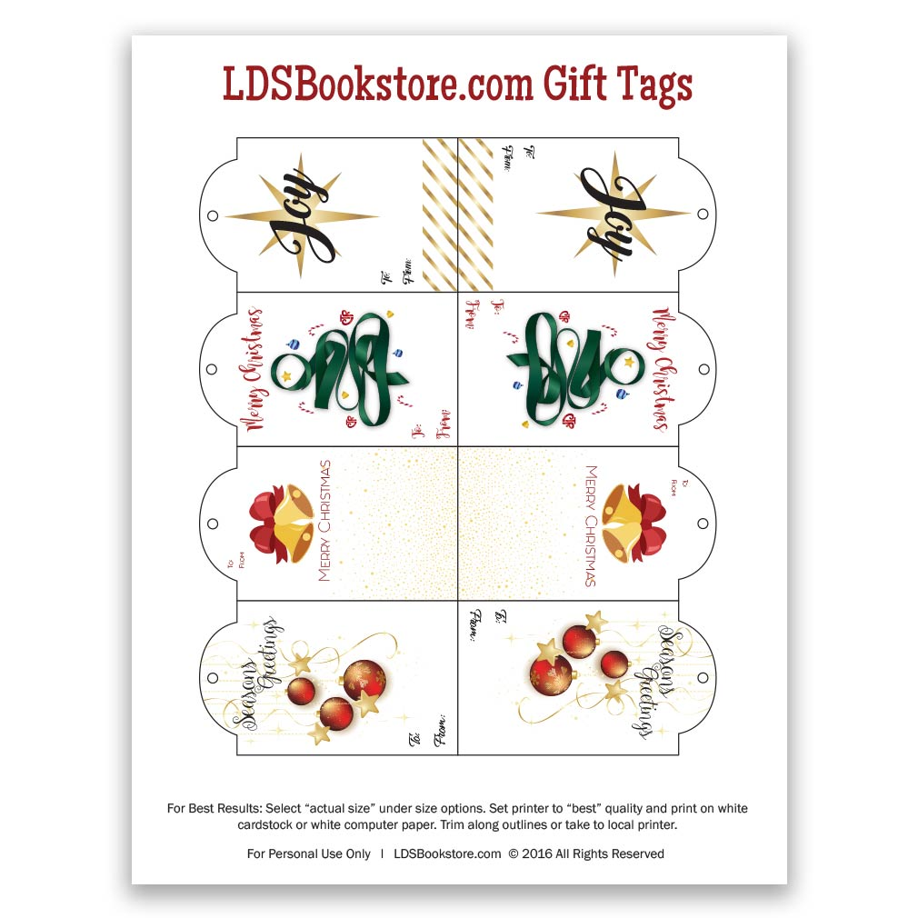 Printable LDS Christmas Gift Tags - Gold - LDPD-PCGTG