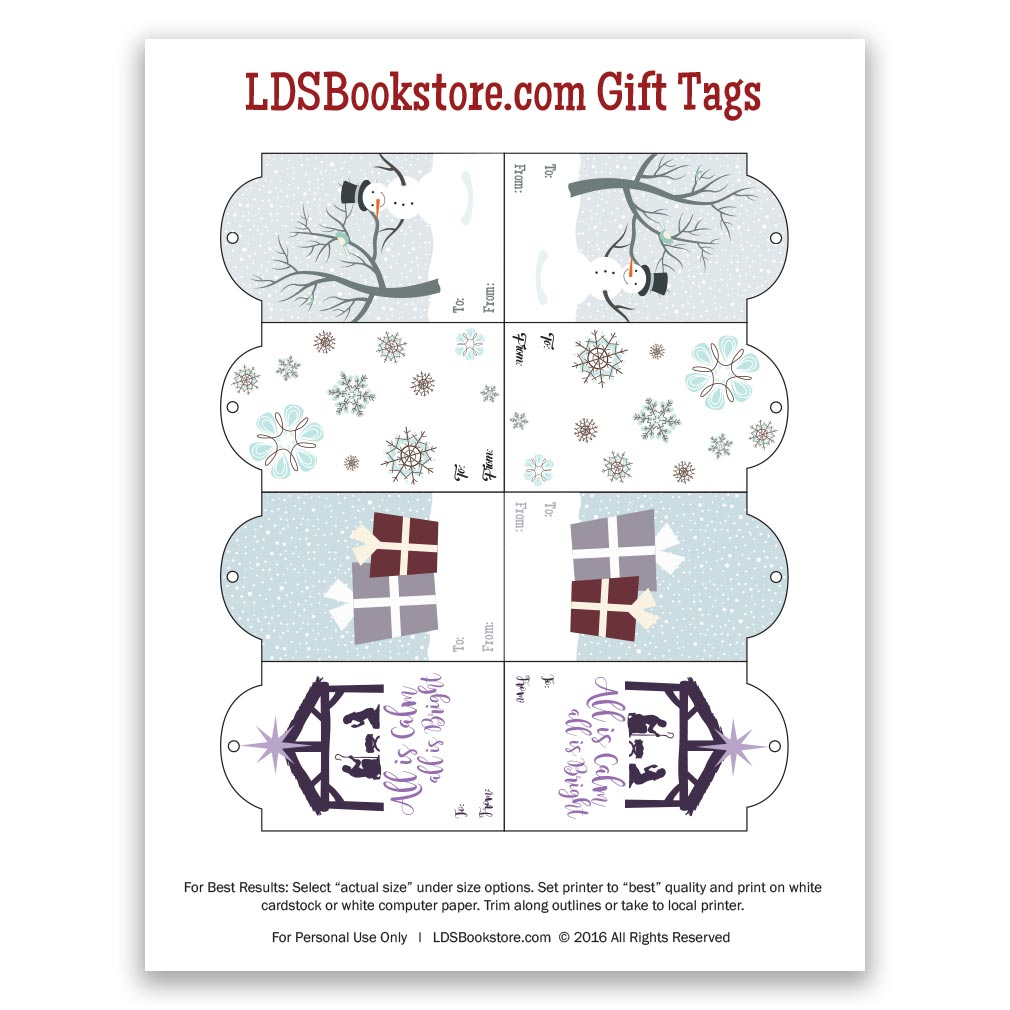 Printable LDS Christmas Gift Tags - Winter - LDPD-PCGTW