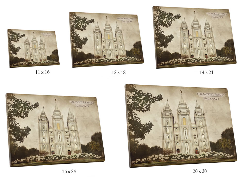 Vintage Boston Temple - Canvas Wrap - D-LWA-CWT-BOS