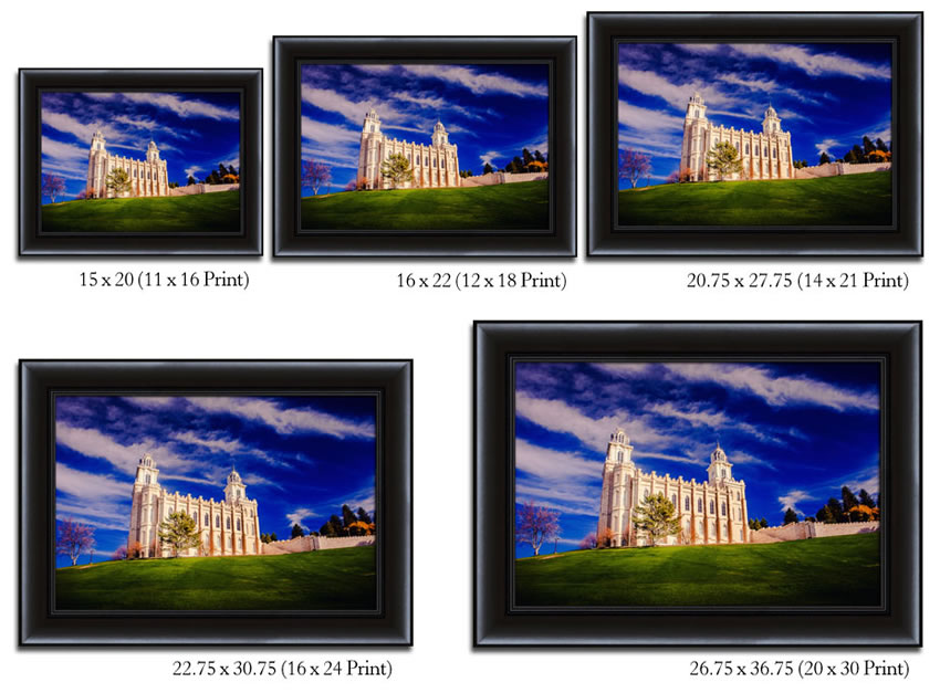 Portland Temple with Reflection - Framed - D-LWA-SJ-PTWF-8D13387