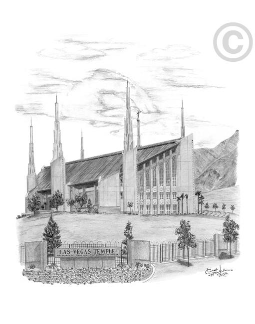 Las Vegas Nevada Temple Sketch In Lds Temple Prints On Ldsbookstore Com