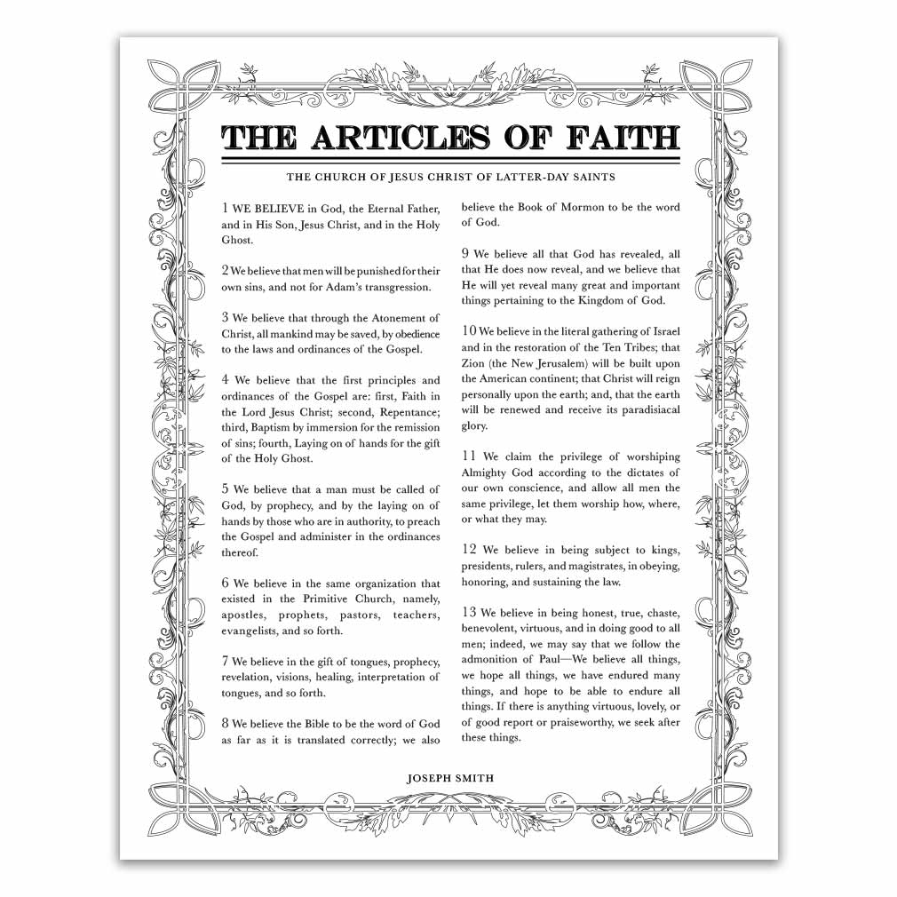 photo regarding Lds Articles of Faith Printable named Leaf Define Information of Religion - Black - Printable