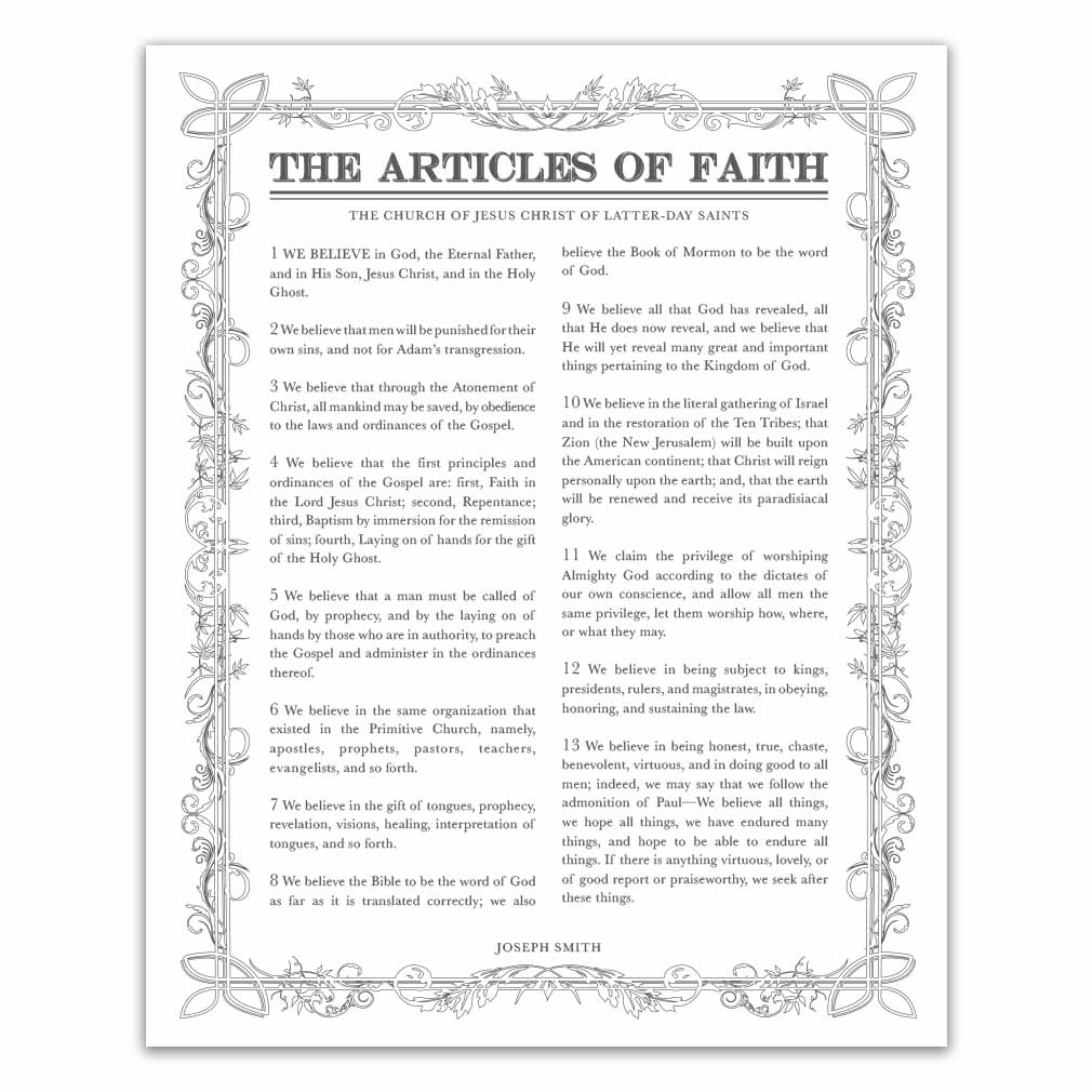 photo about Printable Articles of Faith referred to as Leaf Define Content articles of Religion - Charcoal - Printable
